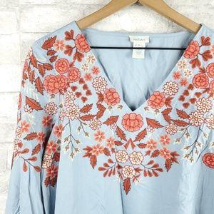 Sundance Tops - Sundance embroidered long sleeve blouse   Size M